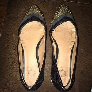 Leather look flats with gold tip